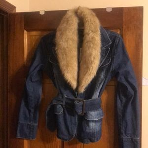 Jackets & Blazers - Faux fur Jean jacket